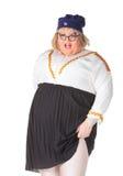 Uomo allegro, drag queen, in un vestito femminile Fotografia Stock