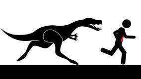 Uomo allontanato dal dinosauro Fotografia Stock