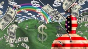 Uomo americano prima del paesaggio di ricchezza illustrazione di stock