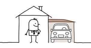 Uomo & casa con il garage Fotografia Stock Libera da Diritti