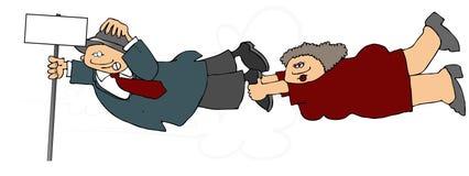 Uomo & donna che saltano in un livello illustrazione vettoriale