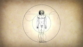 Uomo animato di Vitruvian da Leonardo Da Vinci royalty illustrazione gratis