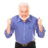 Uomo anziano arrabbiato con la barba Fotografie Stock Libere da Diritti