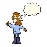uomo anziano arrabbiato del fumetto in abbigliamento rattoppato con la bolla di pensiero Immagini Stock Libere da Diritti