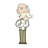 uomo anziano arrabbiato del fumetto comico Fotografie Stock Libere da Diritti
