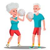 Uomo anziano attivo e donna che giocano vettore della palla Illustrazione isolata illustrazione vettoriale