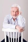Uomo anziano bello con la barba grigia Fotografie Stock