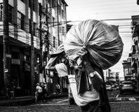 Uomo anziano che lavora nella via di Puyo in Amazzonia Fotografia Stock Libera da Diritti