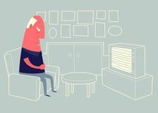 Uomo anziano che si siede nella poltrona e nel sonno Fotografia Stock