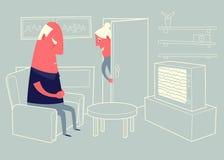 Uomo anziano che si siede in poltrona davanti al set televisivo ed al sonno Fotografie Stock Libere da Diritti