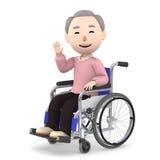 Uomo anziano che si siede su una sedia a rotelle, illustrazione 3D Immagini Stock
