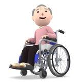 Uomo anziano che si siede su una sedia a rotelle, illustrazione 3D Immagini Stock Libere da Diritti