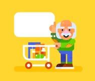 Uomo anziano con il carrello al supermercato Vettore Immagine Stock