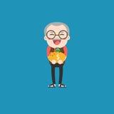 Uomo anziano con il porcellino salvadanaio dorato Fotografie Stock Libere da Diritti
