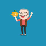 Uomo anziano con il porcellino salvadanaio dorato Immagini Stock