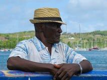 Uomo anziano con un cappello di paglia Fotografie Stock