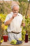 Uomo anziano con vino Fotografie Stock