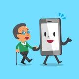 Uomo anziano d'aiuto del carattere dello smartphone del fumetto da camminare Fotografia Stock