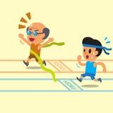 Uomo anziano del fumetto che vince una corsa prima di un giovane Immagini Stock Libere da Diritti