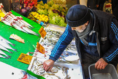 Uomo anziano del pescivendolo Fotografia Stock