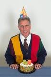 Uomo anziano della festa di compleanno di pensionamento Immagine Stock Libera da Diritti
