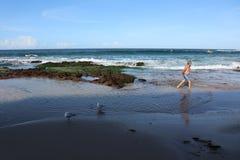 Uomo anziano della spiaggia- di Cronulla ed il mare immagini stock libere da diritti