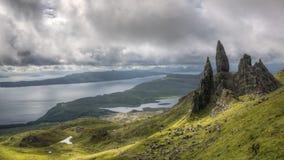 Uomo anziano di Storr, isola di Skye Scotland immagine stock