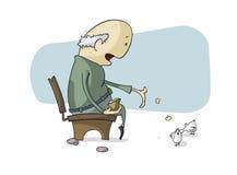Uomo anziano e colombe Fotografia Stock Libera da Diritti
