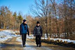 Uomo anziano e nipote che camminano nella campagna Immagini Stock