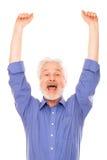Uomo anziano felice con la barba Fotografia Stock Libera da Diritti