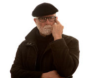 Uomo anziano imbarazzato Fotografia Stock