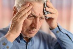 Uomo anziano malato Fotografia Stock Libera da Diritti