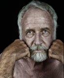 Uomo anziano molto bello sul nero Fotografia Stock Libera da Diritti