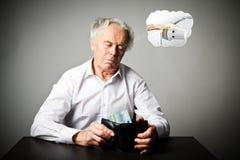 Uomo anziano nel bianco e portafoglio con l'euro venti Periodo di riscaldamento, tasse e concetto di risparmio radiatore immagini stock
