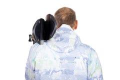 Uomo anziano posteriore di vista con gli sci Fotografia Stock