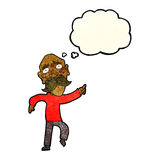 uomo anziano triste del fumetto che indica con la bolla di pensiero Immagini Stock Libere da Diritti