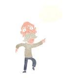 uomo anziano triste del fumetto che indica con la bolla di pensiero Fotografia Stock