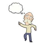 uomo anziano triste del fumetto che indica con la bolla di pensiero Fotografie Stock Libere da Diritti