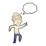 uomo anziano triste del fumetto che indica con la bolla di pensiero Fotografia Stock Libera da Diritti