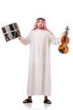 Uomo arabo che gioca tamburo isolato Immagini Stock
