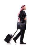 Uomo arabo con bagagli Fotografia Stock Libera da Diritti