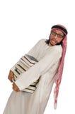 Uomo arabo con i libri isolati su bianco Immagine Stock Libera da Diritti