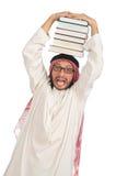 Uomo arabo con i libri isolati su bianco Fotografia Stock Libera da Diritti