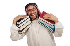 Uomo arabo con i libri isolati su bianco Fotografie Stock Libere da Diritti