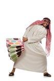 Uomo arabo con i sacchetti della spesa su bianco Fotografie Stock Libere da Diritti