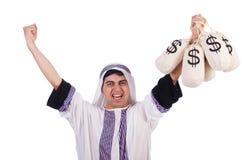 Uomo arabo con i sacchi dei soldi Fotografia Stock Libera da Diritti