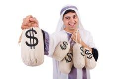 Uomo arabo con i sacchi dei soldi Fotografie Stock Libere da Diritti