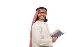 Uomo arabo con il libro isolato su bianco Fotografia Stock