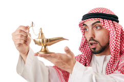Uomo arabo con la lampada Fotografia Stock Libera da Diritti