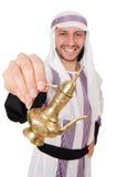 Uomo arabo con la lampada isolata Immagini Stock Libere da Diritti